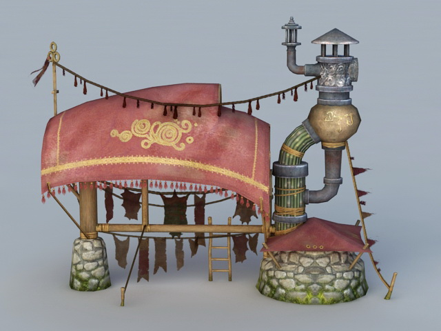 Ancient Drying Furnace 3d rendering