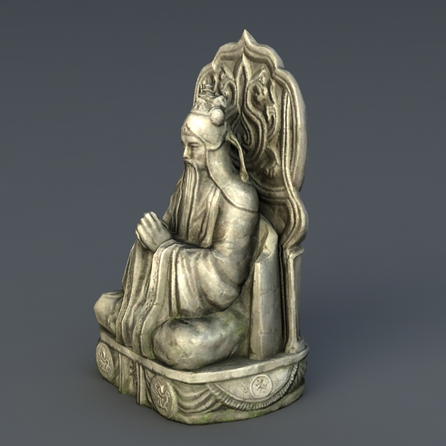 Ancient Gold Statue 3d rendering