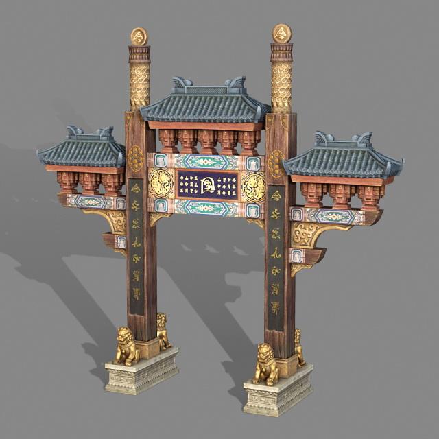 Ancient Chinese Paifang 3d rendering