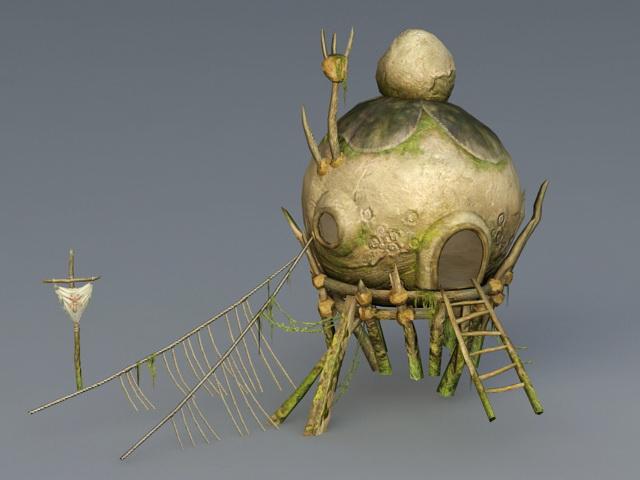 Primitive Village Hut 3d rendering