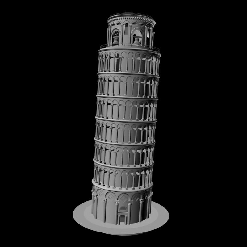 Leaning Tower of Pisa 3d rendering
