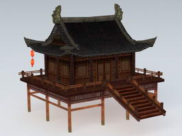 Chinese Water Garden Pavilion 3d preview
