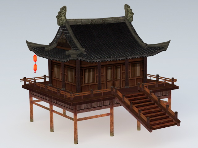 Chinese Water Garden Pavilion 3d rendering