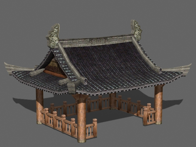 Traditional Chinese Garden Pavilion 3d rendering