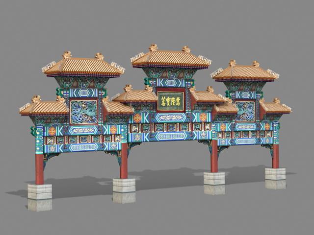 Ancient Paifang 3d rendering