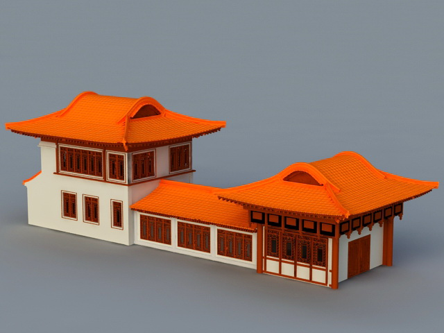 Ancient Chinese Houses 3d rendering
