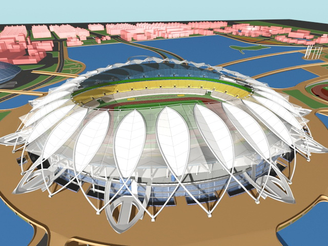 Stadium Architecture Plan 3d rendering