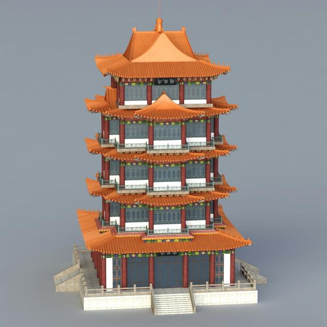 Pagoda Building 3d rendering