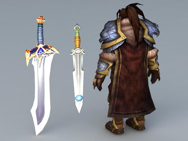 Human King with Swords 3d rendering
