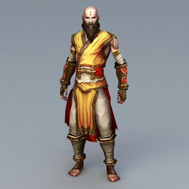 Shaolin Kung Fu Monk 3d rendering