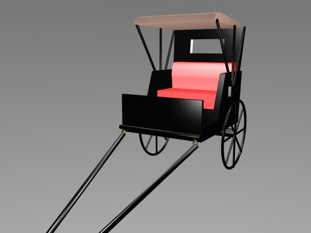 Pulled Rickshaw 3d rendering