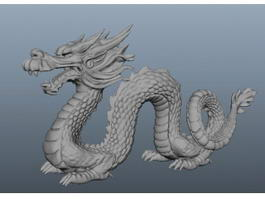 Chinese Stone Dragon Statue 3d preview