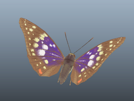 Great Purple Emperor Butterfly 3d preview