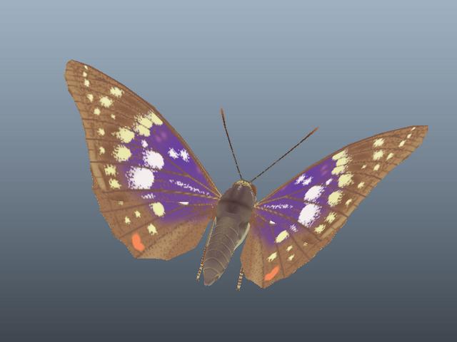 Great Purple Emperor Butterfly 3d rendering