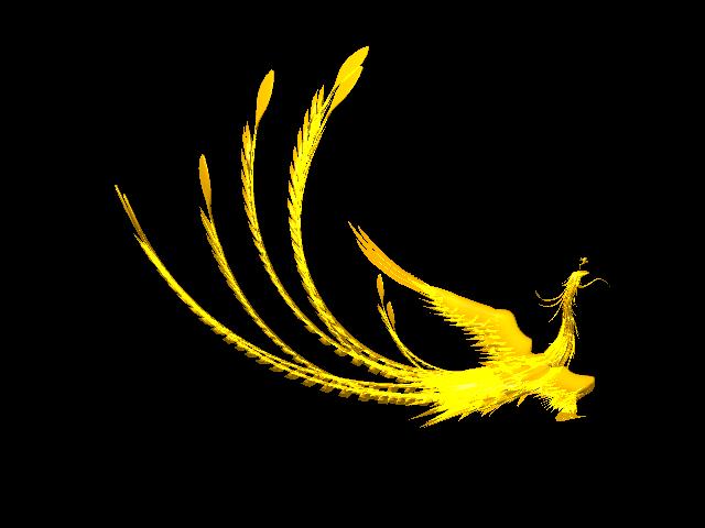 Golden Phoenix 3d rendering