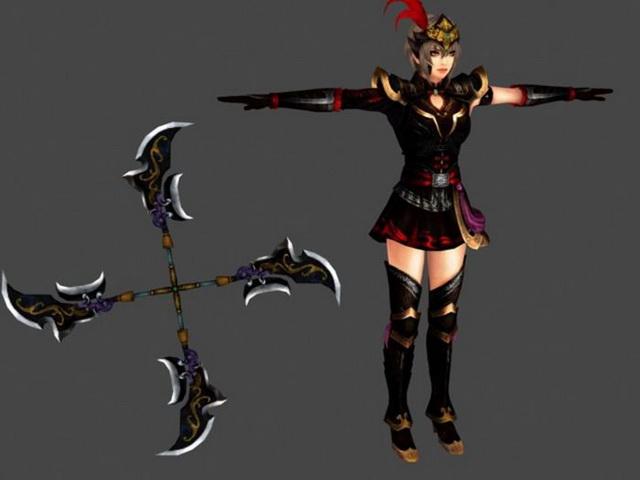 Samurai Warrior Female Character 3d rendering