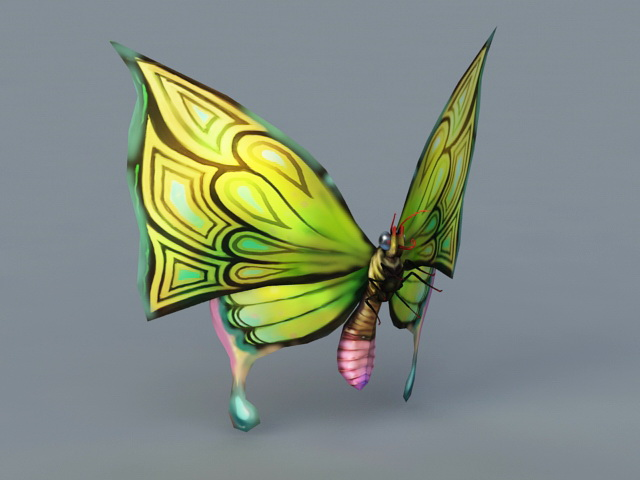 Green Butterfly 3d rendering