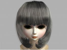 Kawaii Girl Head 3d preview