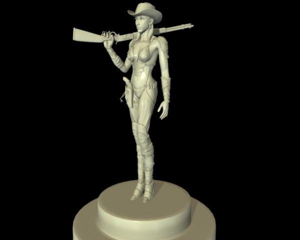 Cowgirl with Gun 3d rendering