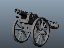 Old Artillery Cannons 3d preview