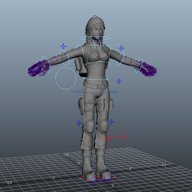 Adventurer Girl Rig 3d Model Maya Files Free Download