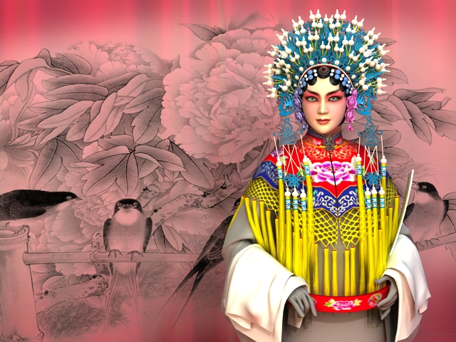 Peking Opera Girl 3d rendering