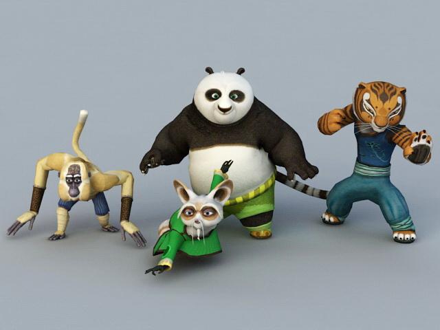 Kung Fu Panda Characters 3d rendering