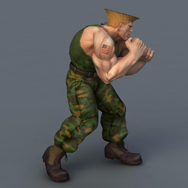 Guile Street Fighter 3d rendering