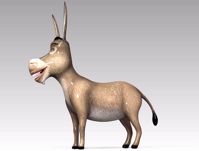 Donkey Cartoon Character 3d rendering