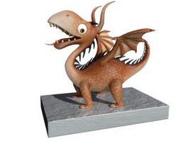 Baby Dragon Cartoon 3d model preview
