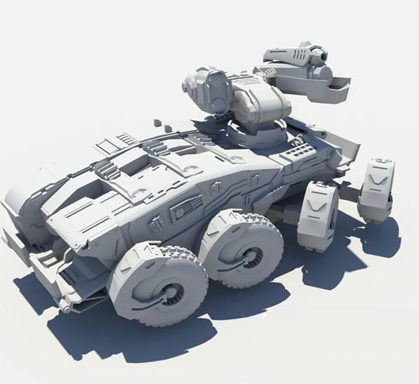 Sci-Fi Tank 3d rendering