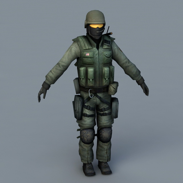 Army Soldier 3d Model 3D Studio,3ds Max,Object Files Free
