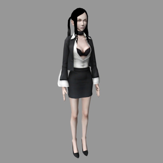 Sexy Office Lady 3d rendering