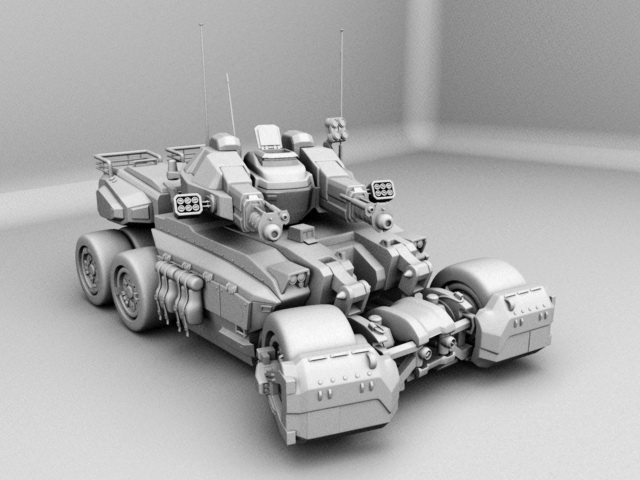 Sci-Fi Combat Tank 3d rendering