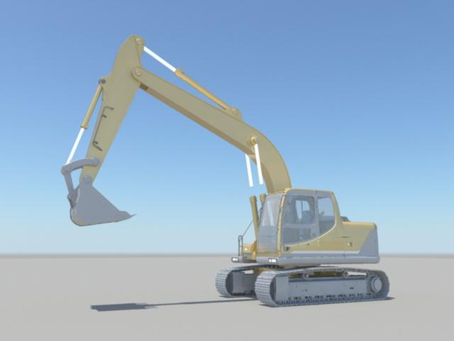 Construction Excavator Rig 3d rendering