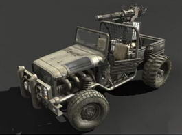 Pickup Truck Gun 3d preview