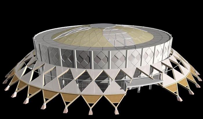 Modern Stadium Architecture 3d rendering