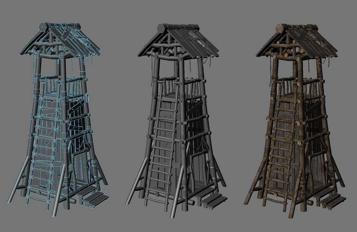 Wood Guard Tower 3d rendering