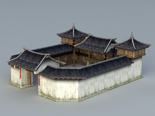 Rich Traditional Chinese Courtyard House 3d rendering