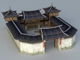 Rich Traditional Chinese Courtyard House 3d preview
