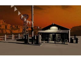 Old Gas Station 3d model preview