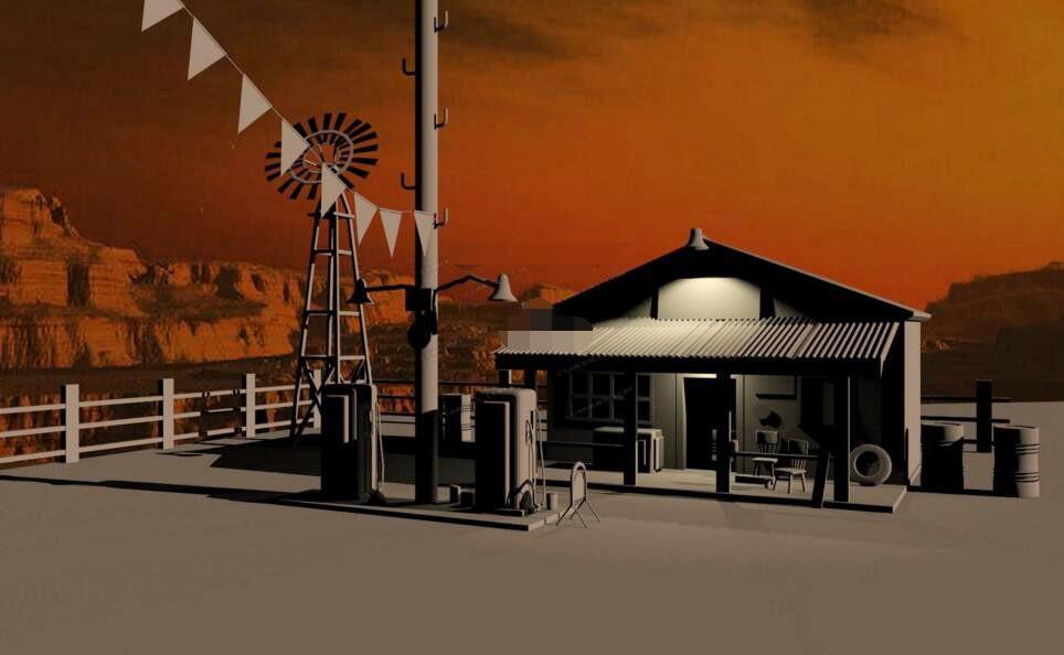 Old Gas Station 3d rendering