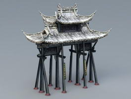 Ancient Paifang Gate 3d model preview