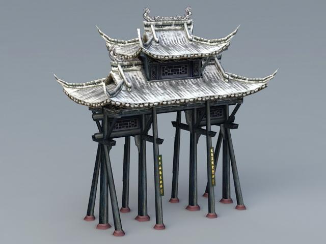 Ancient Paifang Gate 3d rendering