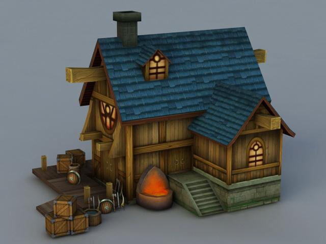 Blacksmith Workshop 3d rendering