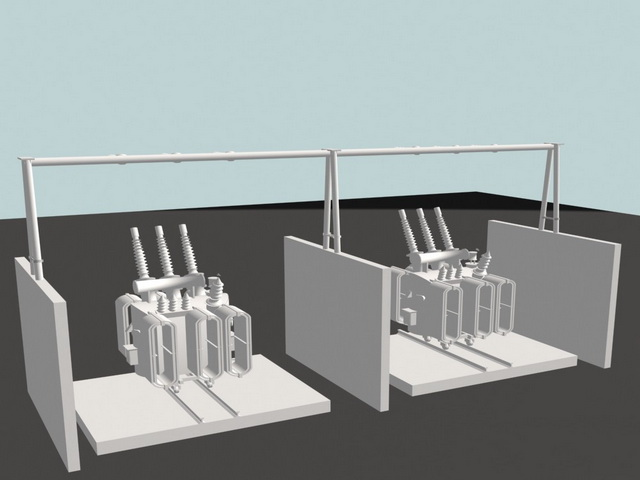 Electrical Power Transformers 3d rendering