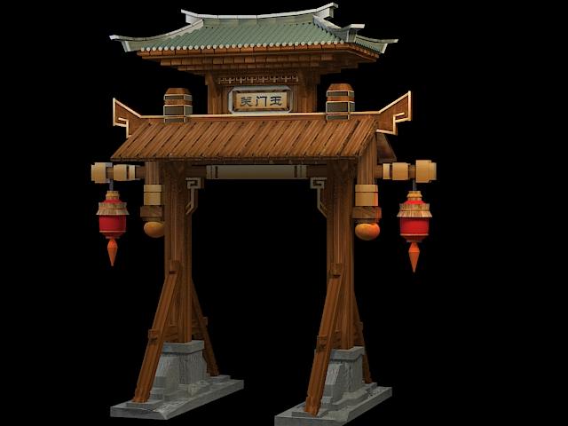 Pailou Gate 3d rendering