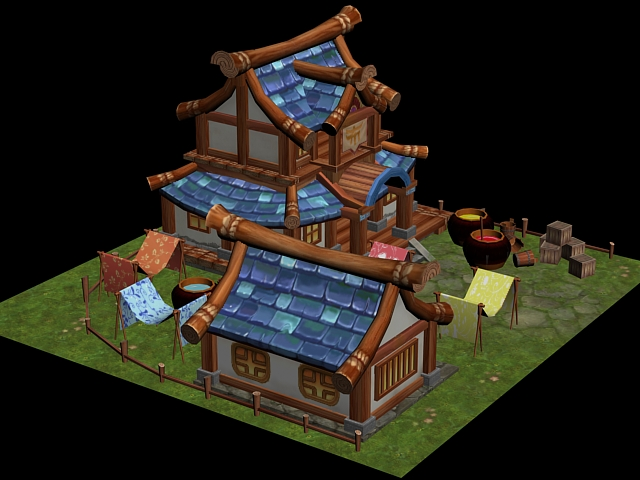 Cartoon Chinese House 3d rendering