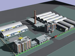 Factory Buildings Architecture 3d preview