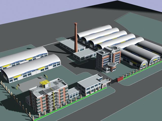 Factory Buildings Architecture 3d rendering